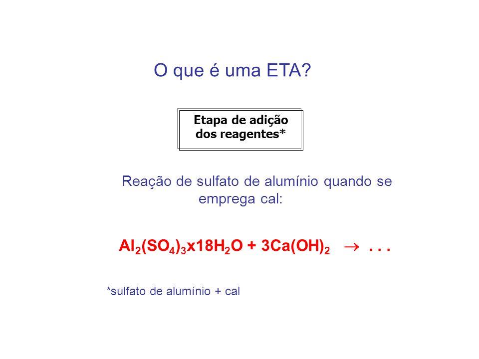 O que é uma ETA? Etapa de adição dos reagentes* Reação de sulfato de alumínio quando se emprega cal: Al 2 (SO 4 ) 3 x18H 2 O + 3Ca(OH) 2... *sulfato d
