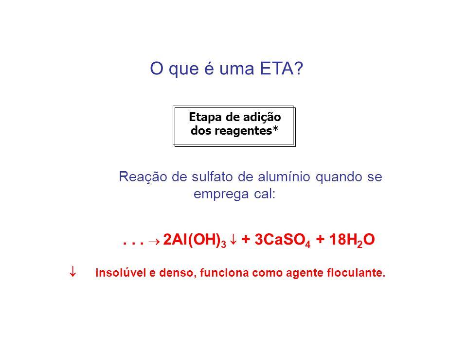 O que é uma ETA? Etapa de adição dos reagentes* Reação de sulfato de alumínio quando se emprega cal:... 2Al(OH) 3 + 3CaSO 4 + 18H 2 O insolúvel e dens