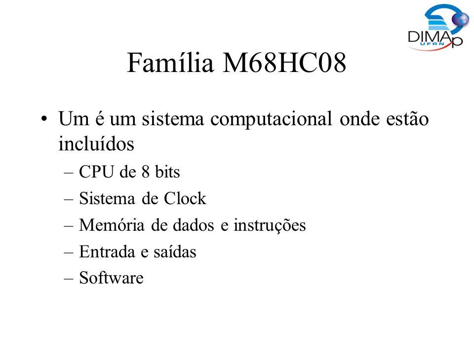 CPU –Na família HC08 é baseada na CPU 08 –ULA –Controle da CPU –Acumulador (A) –Registrador H:X (16 de índice (endereçamento indireto) Contador de Programa (PC) iniciado com o vetor de reset Registrador Condition Code (CCR) – 8 bits de flag de resultado das operações Apontador de Programa (PC)