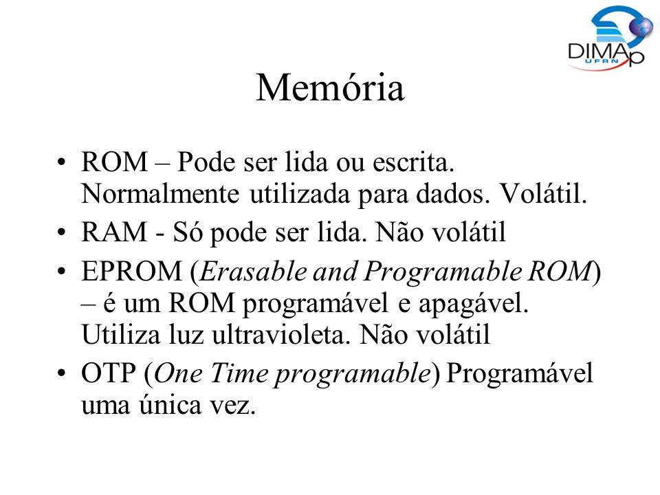 Memória ROM – Pode ser lida ou escrita. Normalmente utilizada para dados. Volátil. RAM - Só pode ser lida. Não volátil EPROM (Erasable and Programable