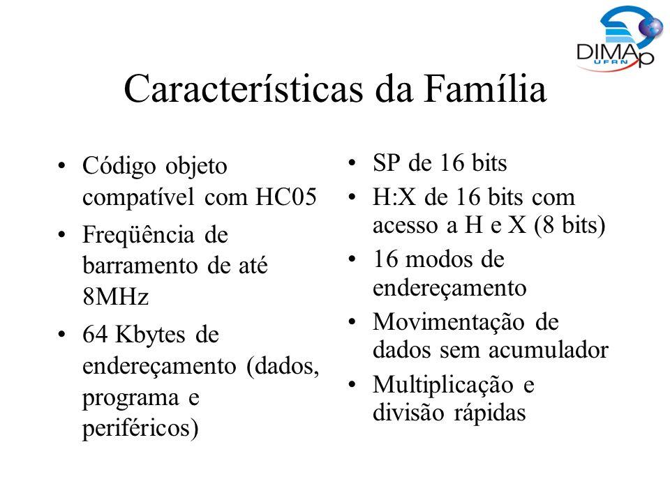 Características da Família Código objeto compatível com HC05 Freqüência de barramento de até 8MHz 64 Kbytes de endereçamento (dados, programa e perifé