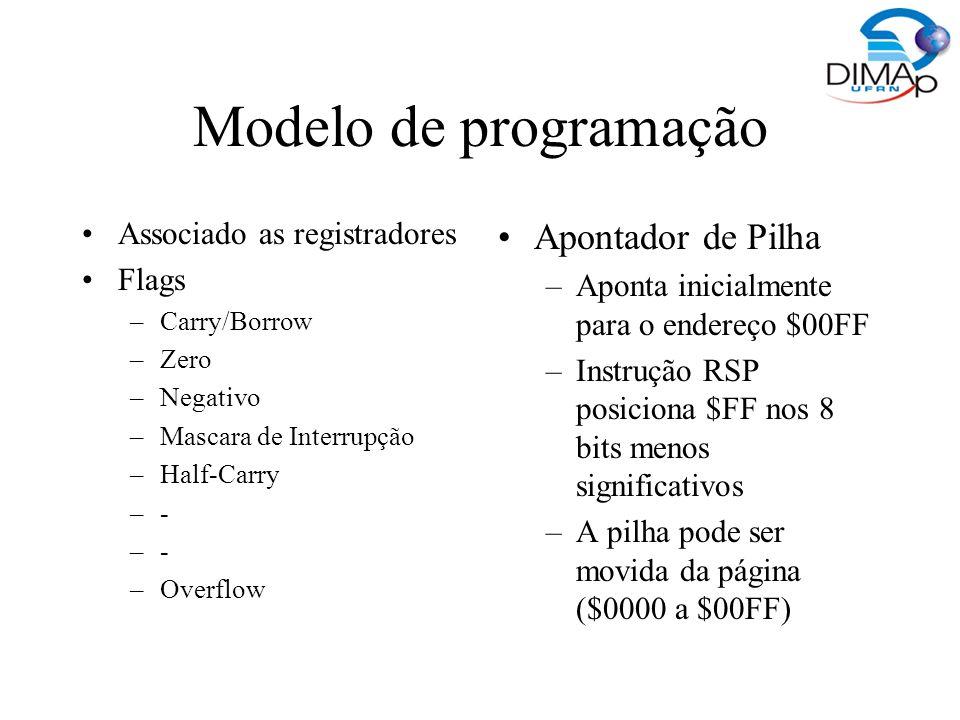 Modelo de programação PC –No reset é iniciado com o conteúdo de $FFFE e $FFFF Endereçamento –Inerente (Implícito) –Imediato –Direto (um byte de endereço) Estendido (dois bytes de endereço) Indexado (com e sem offset de 8 ou 16 bits) Stack Pointer Relativo (PC) Movimentação de dados