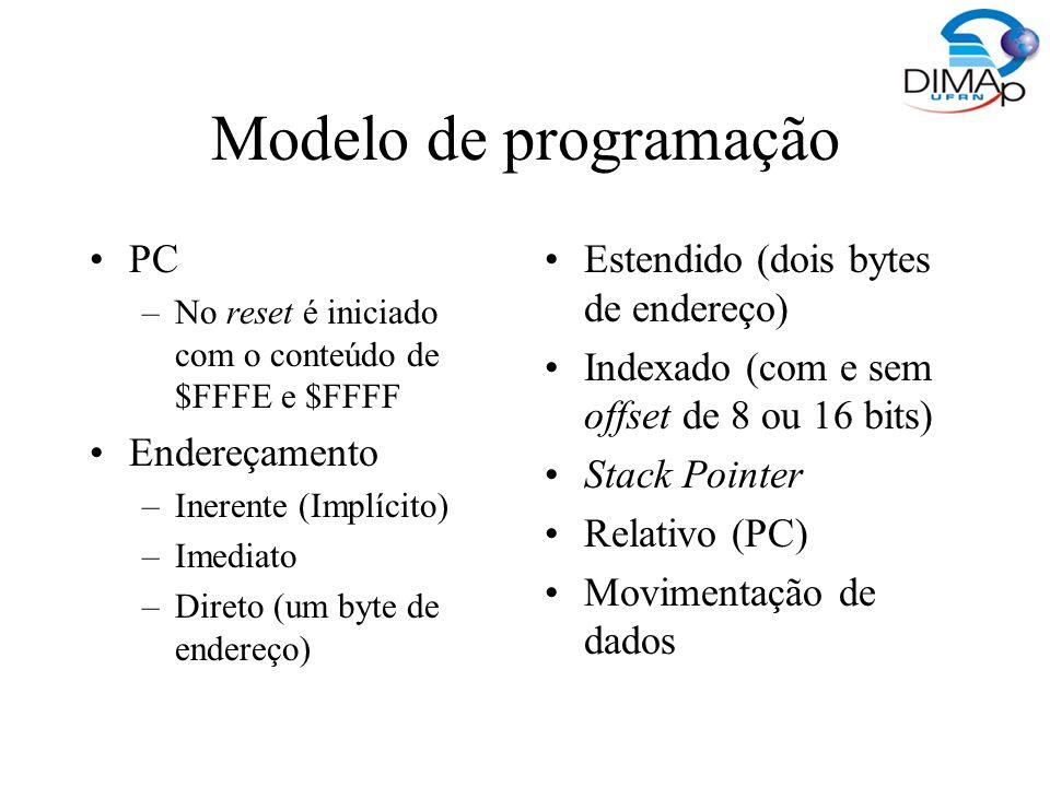 Modelo de programação PC –No reset é iniciado com o conteúdo de $FFFE e $FFFF Endereçamento –Inerente (Implícito) –Imediato –Direto (um byte de endere