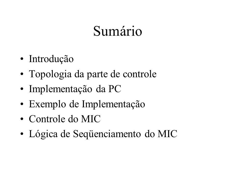 Introdução A parte de controle define, ciclo-a-ciclo, a seqüência de operações elementares executadas pela Parte Operativa Uma operação elementar é definida pelo conjunto de sinais que controlam em um ciclo o uso dos recursos da Parte Operativa.