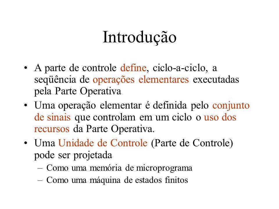 Topologia da Parte de Controle A Parte de Controle pode ser vista como uma Máquina de Moore.
