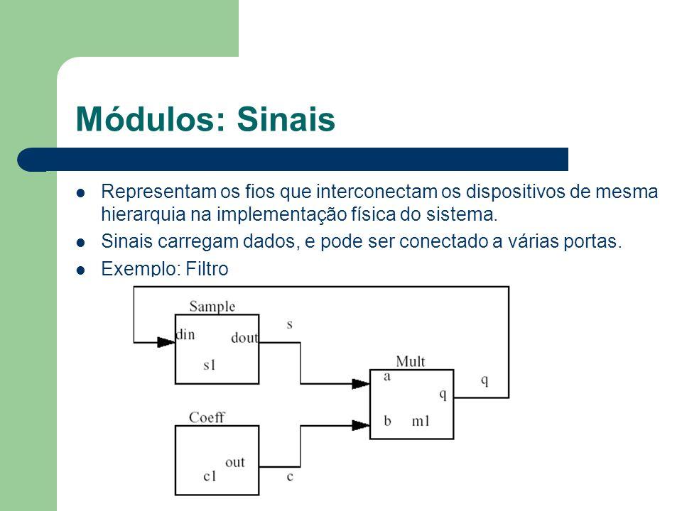 Módulos: Sinais Representam os fios que interconectam os dispositivos de mesma hierarquia na implementação física do sistema. Sinais carregam dados, e