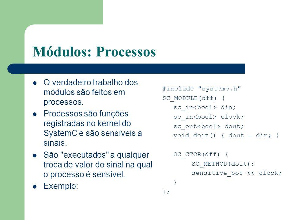 Módulos: Processos O verdadeiro trabalho dos módulos são feitos em processos. Processos são funções registradas no kernel do SystemC e são sensíveis a