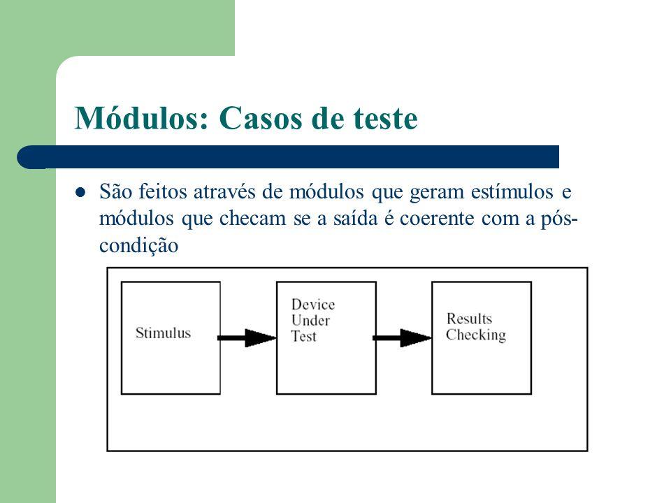 Módulos: Casos de teste São feitos através de módulos que geram estímulos e módulos que checam se a saída é coerente com a pós- condição