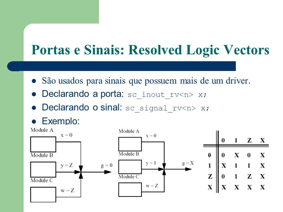 Portas e Sinais: Resolved Logic Vectors São usados para sinais que possuem mais de um driver. Declarando a porta: sc_inout_rv x; Declarando o sinal: s