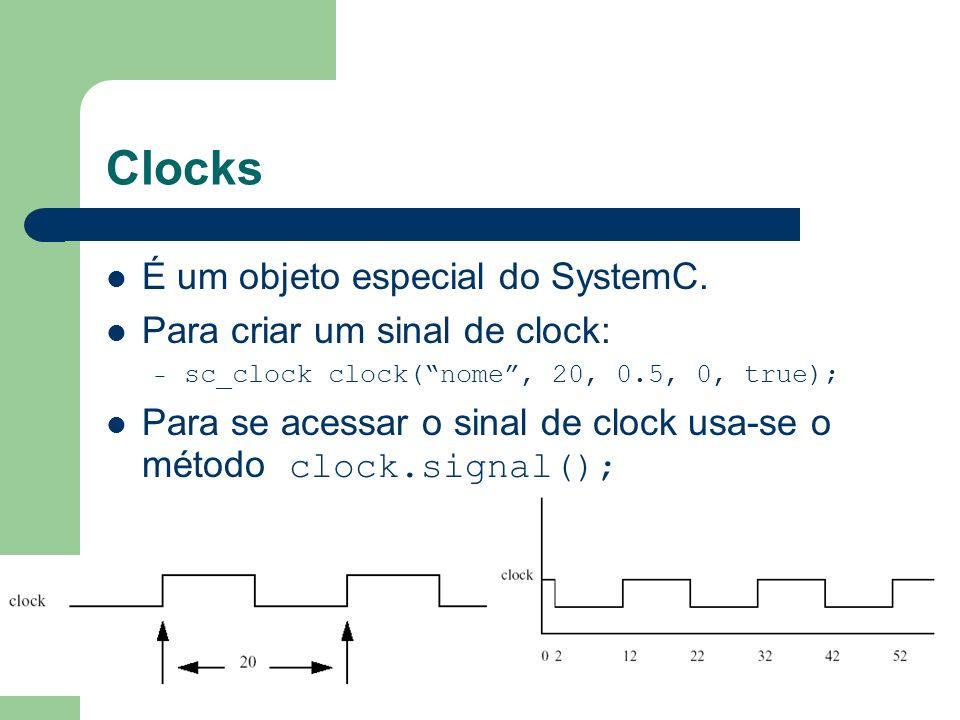 Clocks É um objeto especial do SystemC. Para criar um sinal de clock: – sc_clock clock(nome, 20, 0.5, 0, true); Para se acessar o sinal de clock usa-s