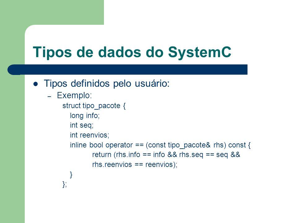 Tipos de dados do SystemC Tipos definidos pelo usuário: – Exemplo: struct tipo_pacote { long info; int seq; int reenvios; inline bool operator == (con