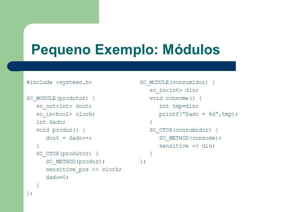 Pequeno Exemplo: Módulos #include SC_MODULE(produtor) { sc_out dout; sc_in clock; int dado; void produz() { dout = dado++; } SC_CTOR(produtor) { SC_ME