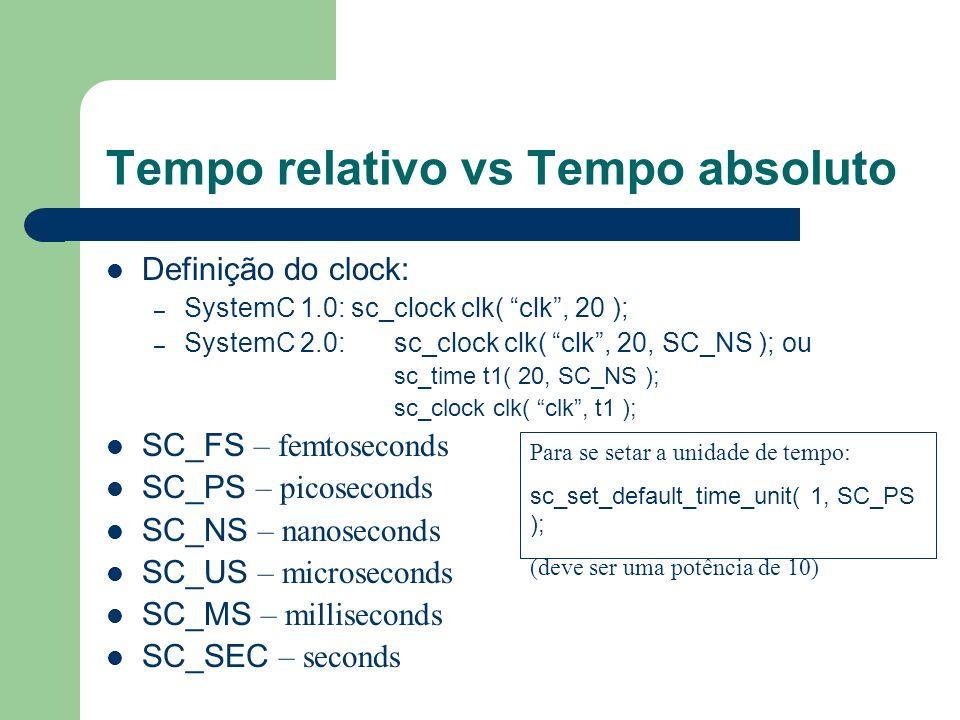 Tempo relativo vs Tempo absoluto Definição do clock: – SystemC 1.0: sc_clock clk( clk, 20 ); – SystemC 2.0:sc_clock clk( clk, 20, SC_NS ); ou sc_time