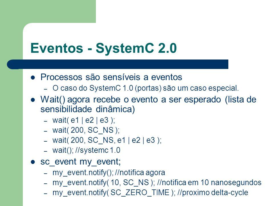 Eventos - SystemC 2.0 Processos são sensíveis a eventos – O caso do SystemC 1.0 (portas) são um caso especial. Wait() agora recebe o evento a ser espe