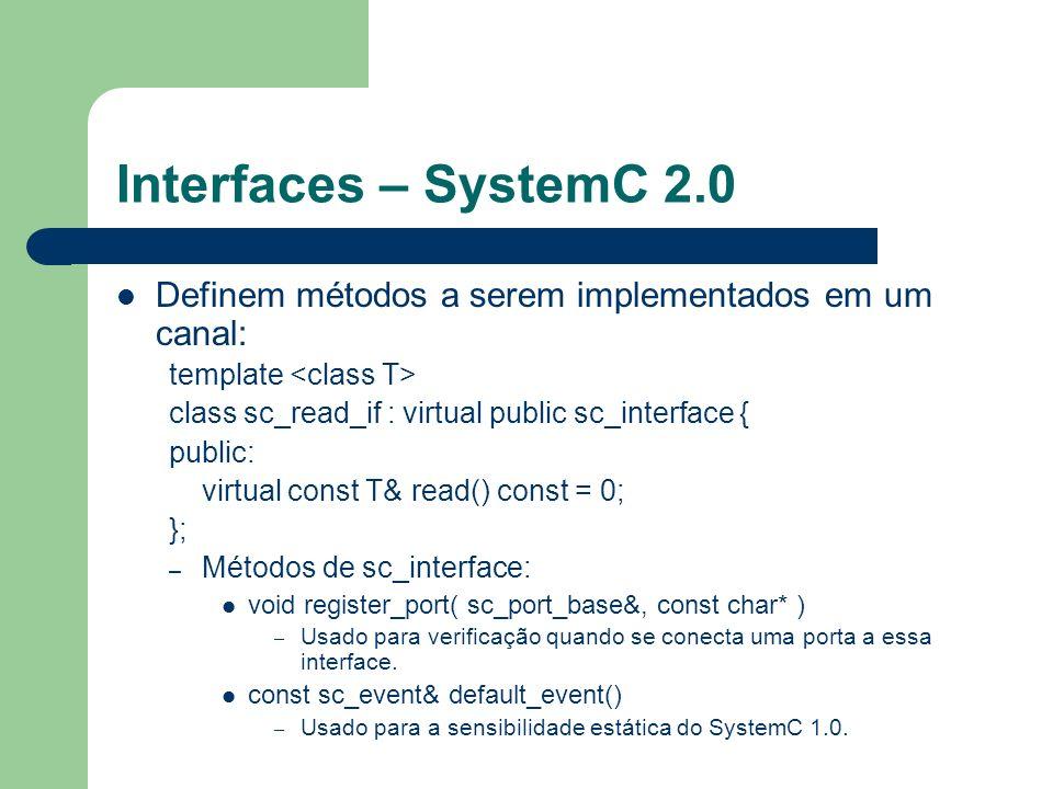 Interfaces – SystemC 2.0 Definem métodos a serem implementados em um canal: template class sc_read_if : virtual public sc_interface { public: virtual