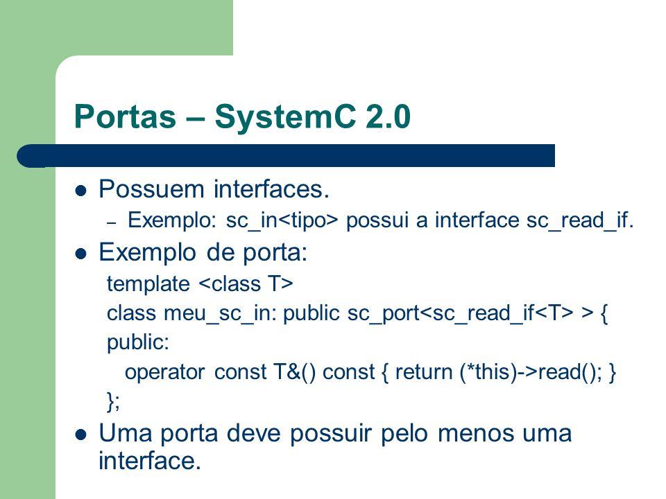 Portas – SystemC 2.0 Possuem interfaces. – Exemplo: sc_in possui a interface sc_read_if. Exemplo de porta: template class meu_sc_in: public sc_port >