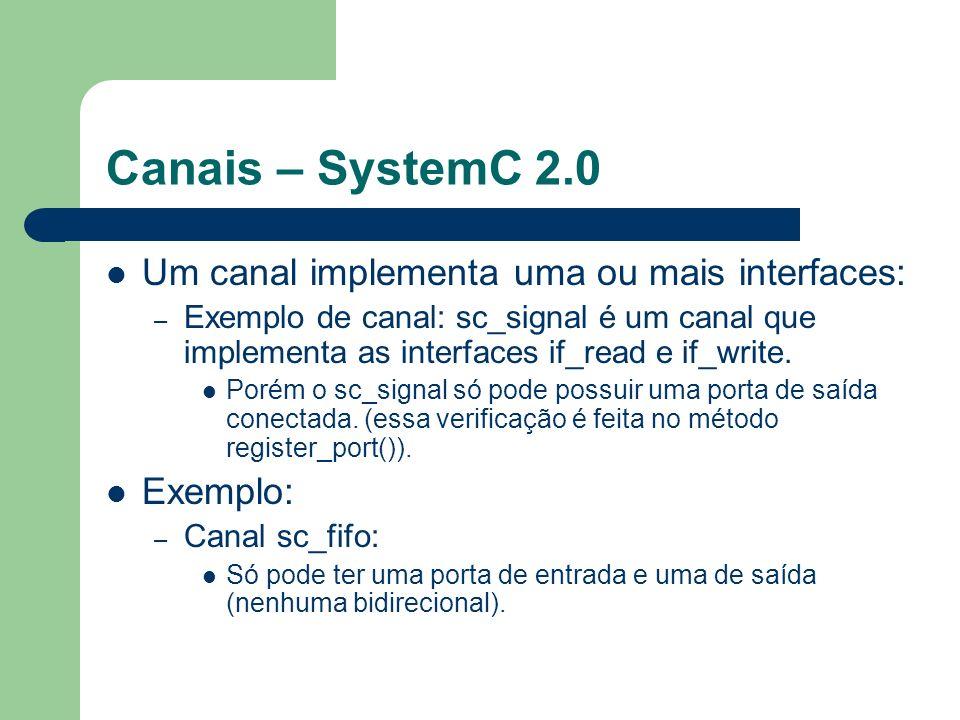 Canais – SystemC 2.0 Um canal implementa uma ou mais interfaces: – Exemplo de canal: sc_signal é um canal que implementa as interfaces if_read e if_wr
