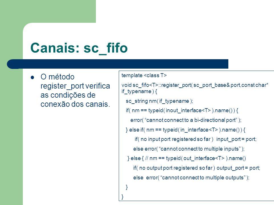 Canais: sc_fifo O método register_port verifica as condições de conexão dos canais. template void sc_fifo ::register_port( sc_port_base& port,const ch