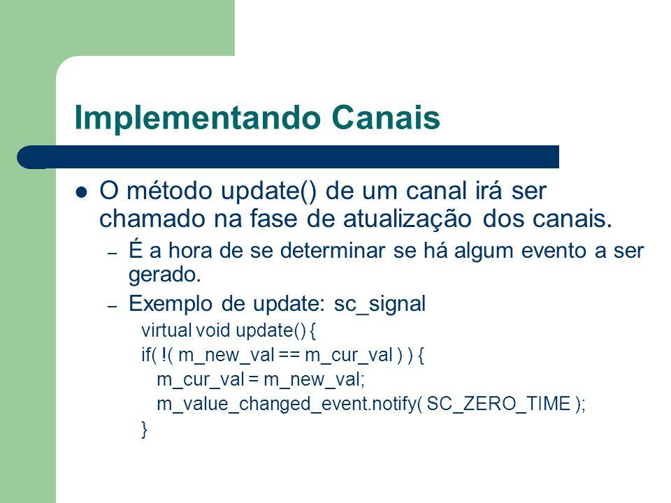 Implementando Canais O método update() de um canal irá ser chamado na fase de atualização dos canais. – É a hora de se determinar se há algum evento a