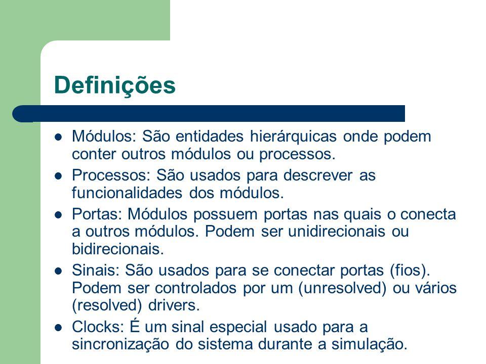 Definições Módulos: São entidades hierárquicas onde podem conter outros módulos ou processos. Processos: São usados para descrever as funcionalidades