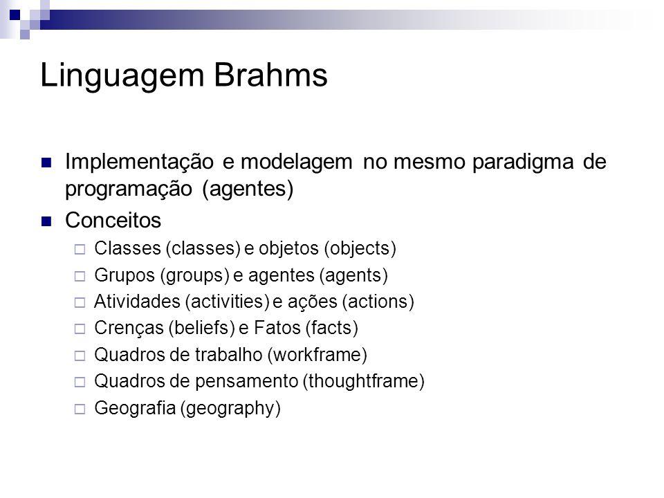 Linguagem Brahms Implementação e modelagem no mesmo paradigma de programação (agentes) Conceitos Classes (classes) e objetos (objects) Grupos (groups) e agentes (agents) Atividades (activities) e ações (actions) Crenças (beliefs) e Fatos (facts) Quadros de trabalho (workframe) Quadros de pensamento (thoughtframe) Geografia (geography)