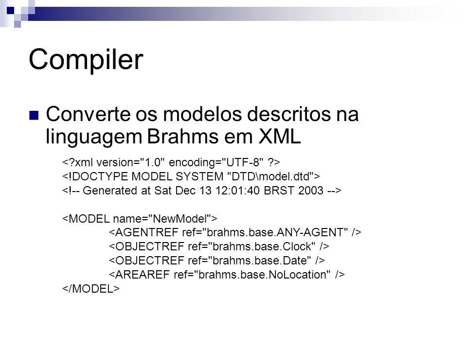 Compiler Converte os modelos descritos na linguagem Brahms em XML