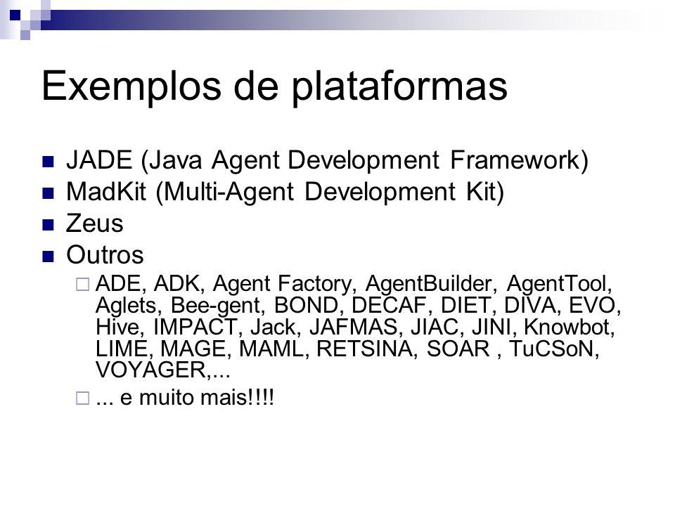 Exemplos de plataformas JADE (Java Agent Development Framework) MadKit (Multi-Agent Development Kit) Zeus Outros ADE, ADK, Agent Factory, AgentBuilder