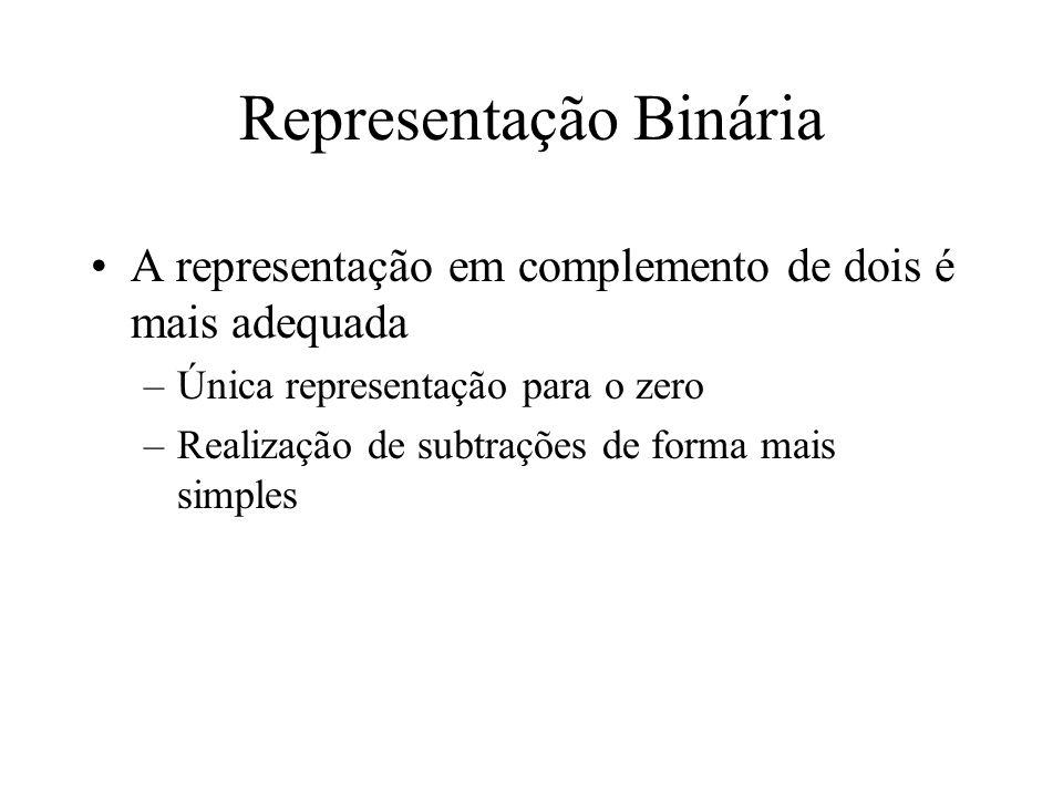 Representação Binária A representação em complemento de dois é mais adequada –Única representação para o zero –Realização de subtrações de forma mais