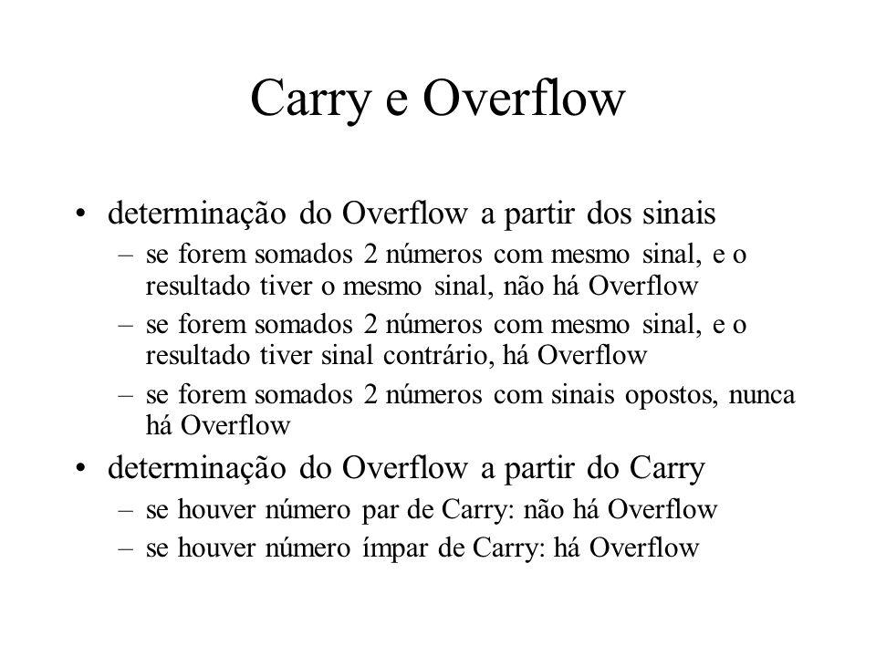 Carry e Overflow determinação do Overflow a partir dos sinais –se forem somados 2 números com mesmo sinal, e o resultado tiver o mesmo sinal, não há O