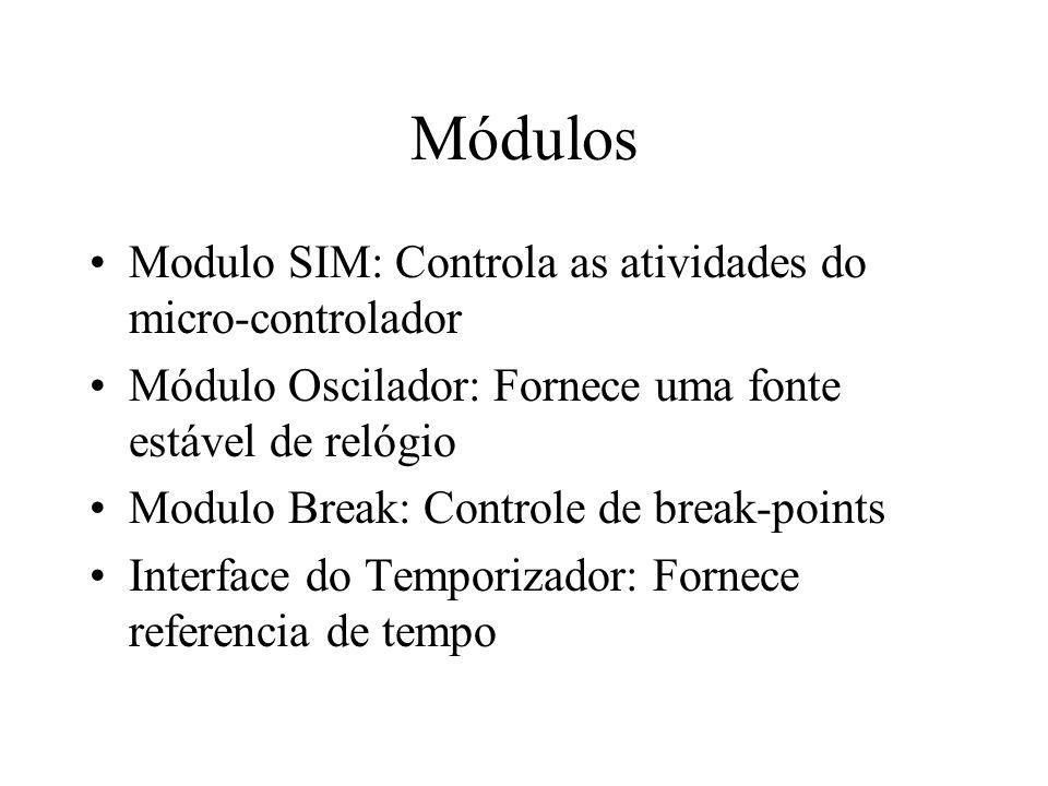 Módulos Modulo SIM: Controla as atividades do micro-controlador Módulo Oscilador: Fornece uma fonte estável de relógio Modulo Break: Controle de break