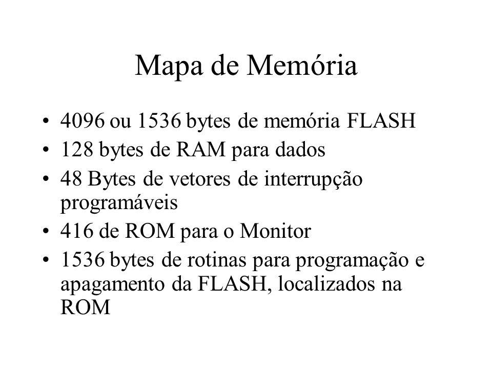 Mapa de Memória 4096 ou 1536 bytes de memória FLASH 128 bytes de RAM para dados 48 Bytes de vetores de interrupção programáveis 416 de ROM para o Moni