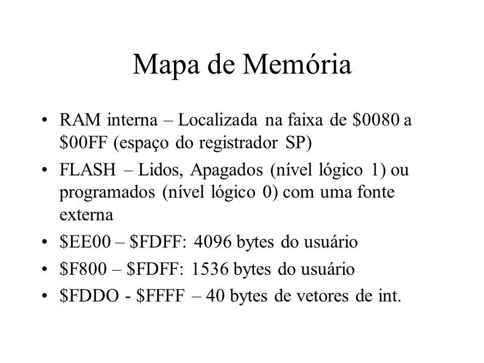 Mapa de Memória RAM interna – Localizada na faixa de $0080 a $00FF (espaço do registrador SP) FLASH – Lidos, Apagados (nível lógico 1) ou programados