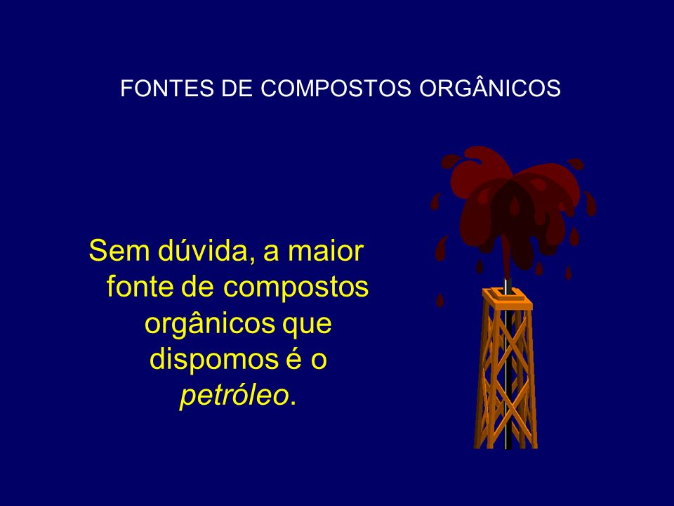 FONTES DE COMPOSTOS ORGÂNICOS Por isso, foi desenvolvido um processo catalítico de converter moléculas maiores de petróleo em moléculas de gasolina.