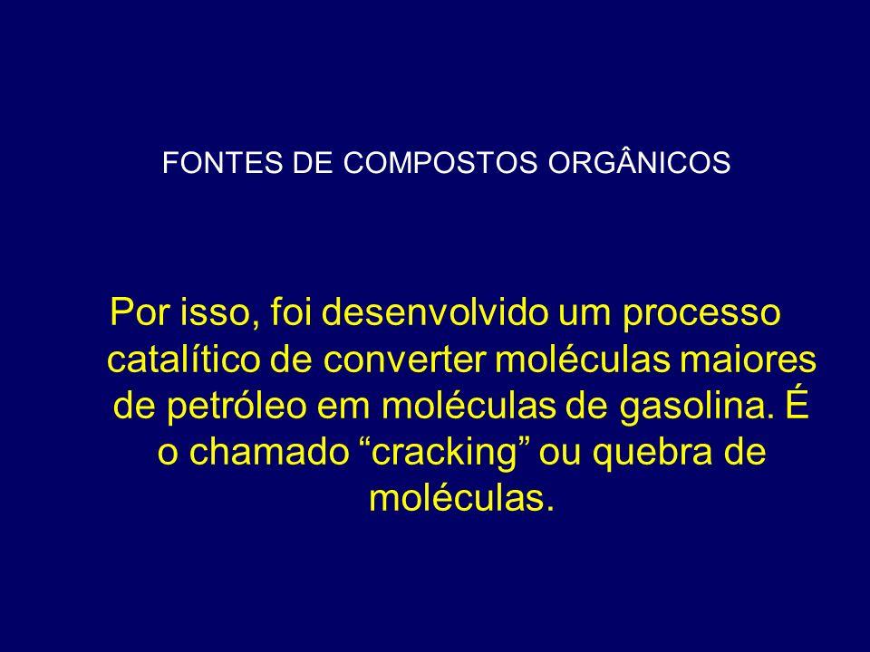FONTES DE COMPOSTOS ORGÂNICOS Por isso, foi desenvolvido um processo catalítico de converter moléculas maiores de petróleo em moléculas de gasolina. É