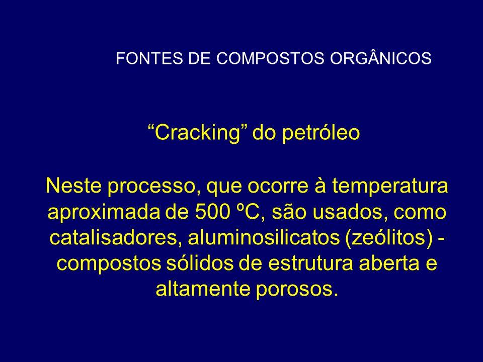FONTES DE COMPOSTOS ORGÂNICOS Cracking do petróleo Neste processo, que ocorre à temperatura aproximada de 500 ºC, são usados, como catalisadores, alum