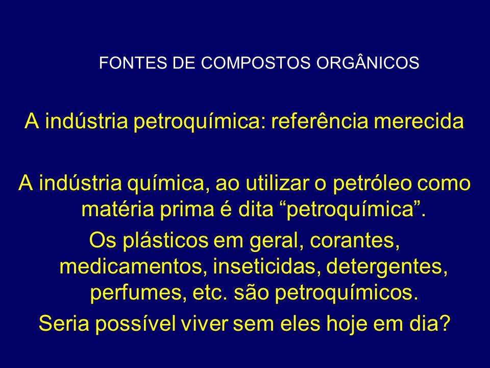FONTES DE COMPOSTOS ORGÂNICOS A indústria petroquímica: referência merecida A indústria química, ao utilizar o petróleo como matéria prima é dita petr