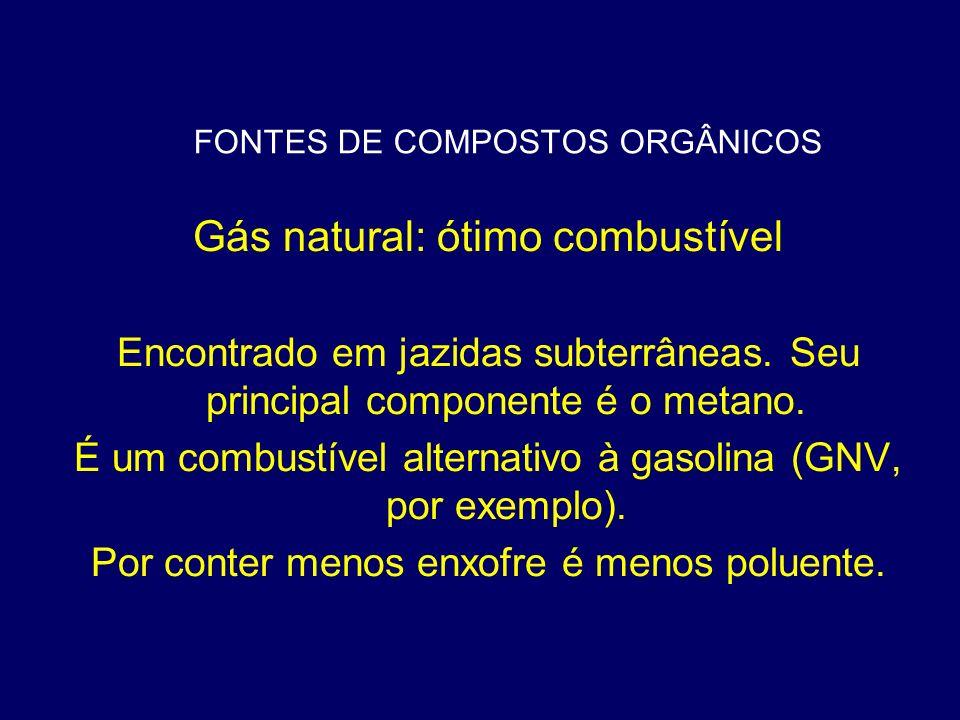 FONTES DE COMPOSTOS ORGÂNICOS Gás natural: ótimo combustível Encontrado em jazidas subterrâneas. Seu principal componente é o metano. É um combustível