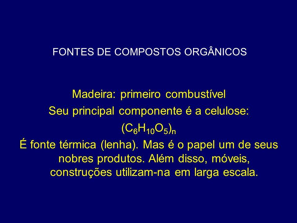 FONTES DE COMPOSTOS ORGÂNICOS Madeira: primeiro combustível Seu principal componente é a celulose: (C 6 H 10 O 5 ) n É fonte térmica (lenha). Mas é o