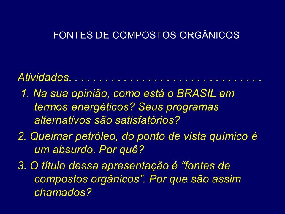 FONTES DE COMPOSTOS ORGÂNICOS Atividades................................ 1. Na sua opinião, como está o BRASIL em termos energéticos? Seus programas a