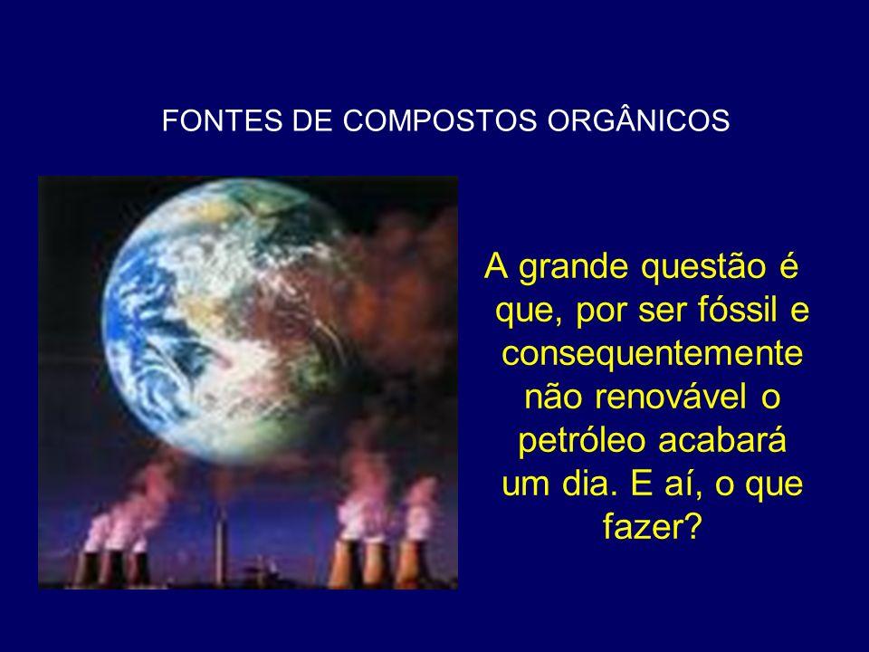 FONTES DE COMPOSTOS ORGÂNICOS A grande questão é que, por ser fóssil e consequentemente não renovável o petróleo acabará um dia. E aí, o que fazer?
