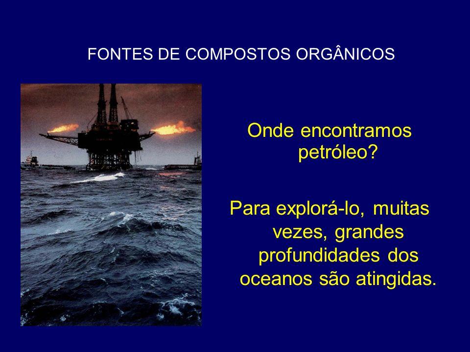 FONTES DE COMPOSTOS ORGÂNICOS Onde encontramos petróleo? Para explorá-lo, muitas vezes, grandes profundidades dos oceanos são atingidas.