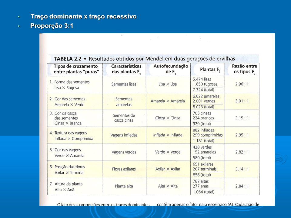 Traço dominante x traço recessivo Traço dominante x traço recessivo Proporção 3:1 Proporção 3:1
