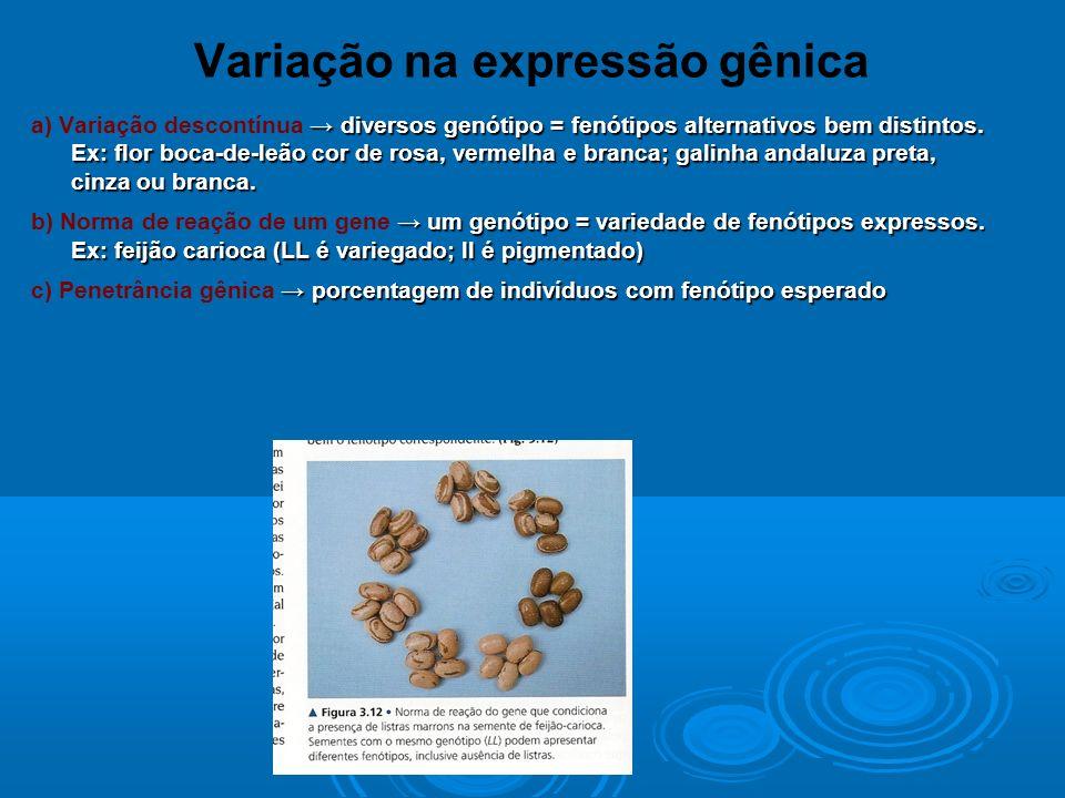 Variação na expressão gênica diversos genótipo = fenótipos alternativos bem distintos.