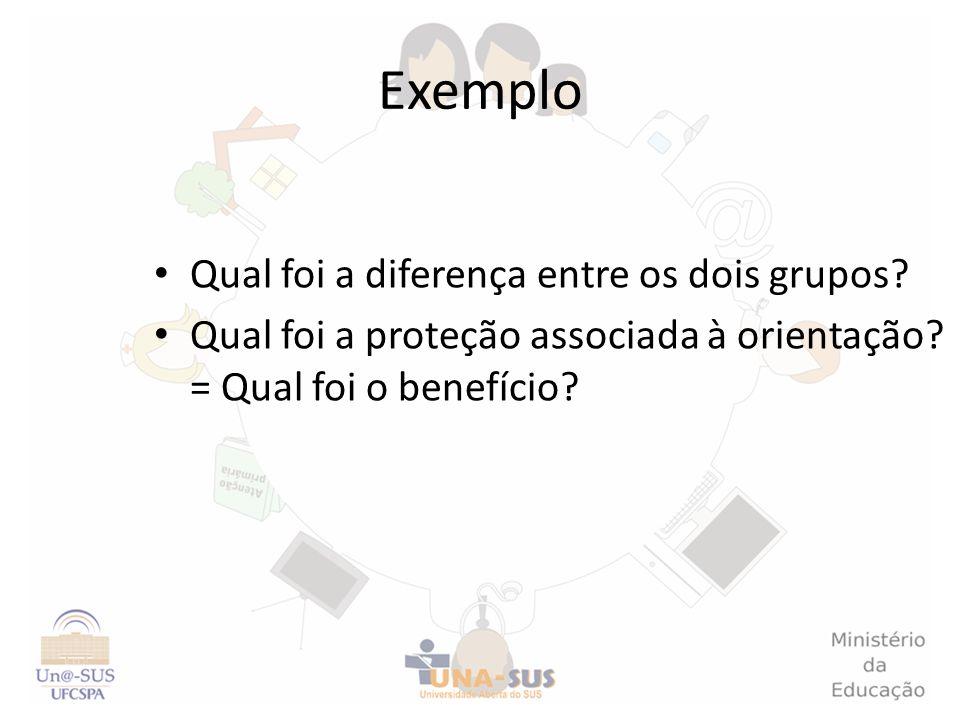 Exemplo Qual foi a diferença entre os dois grupos? Qual foi a proteção associada à orientação? = Qual foi o benefício?