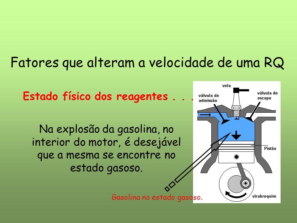 Fatores que alteram a velocidade de uma RQ Estado físico dos reagentes... Na explosão da gasolina, no interior do motor, é desejável que a mesma se en