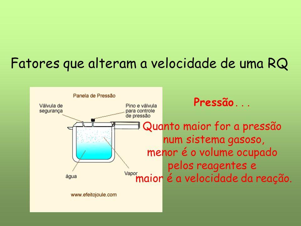 Fatores que alteram a velocidade de uma RQ Pressão... Quanto maior for a pressão num sistema gasoso, menor é o volume ocupado pelos reagentes e maior