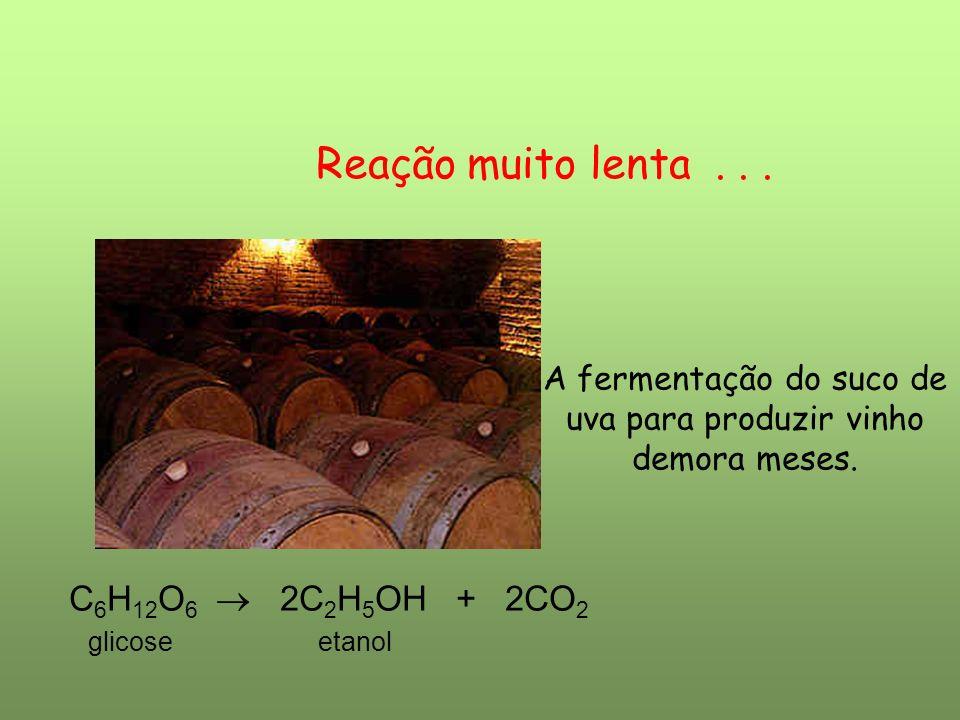 Reação muito lenta... A fermentação do suco de uva para produzir vinho demora meses. C 6 H 12 O 6 2C 2 H 5 OH + 2CO 2 glicose etanol