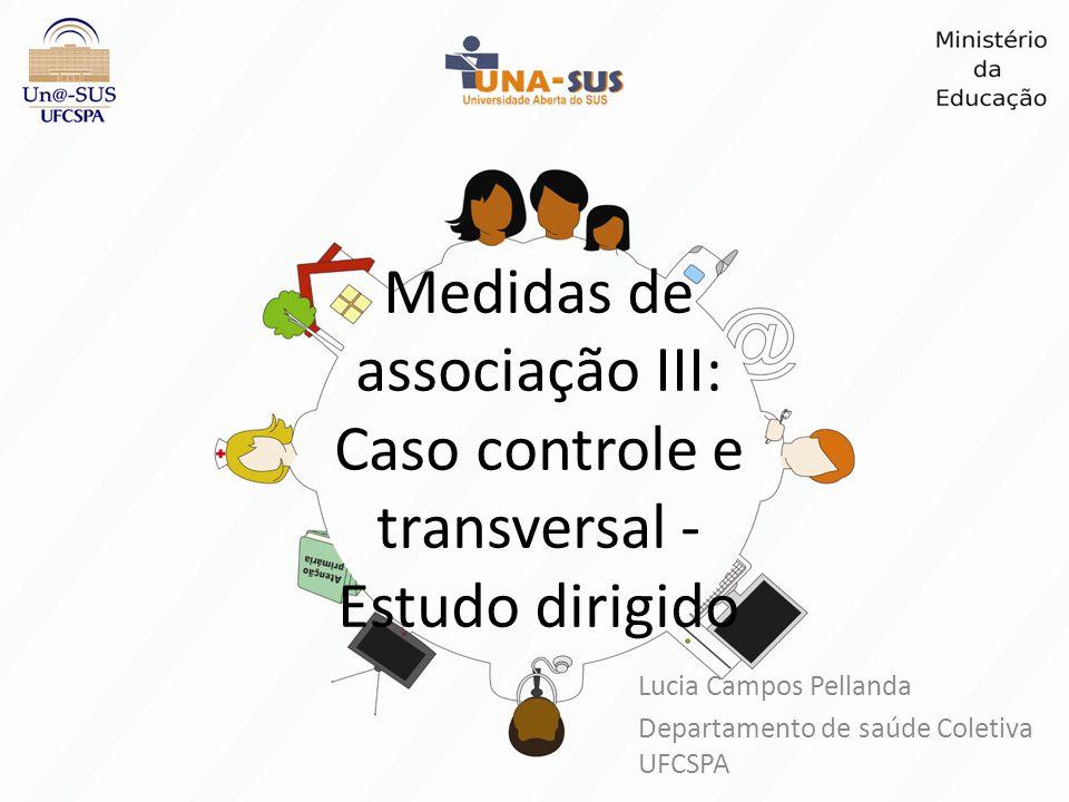 Medidas de associação III: Caso controle e transversal - Estudo dirigido Lucia Campos Pellanda Departamento de saúde Coletiva UFCSPA