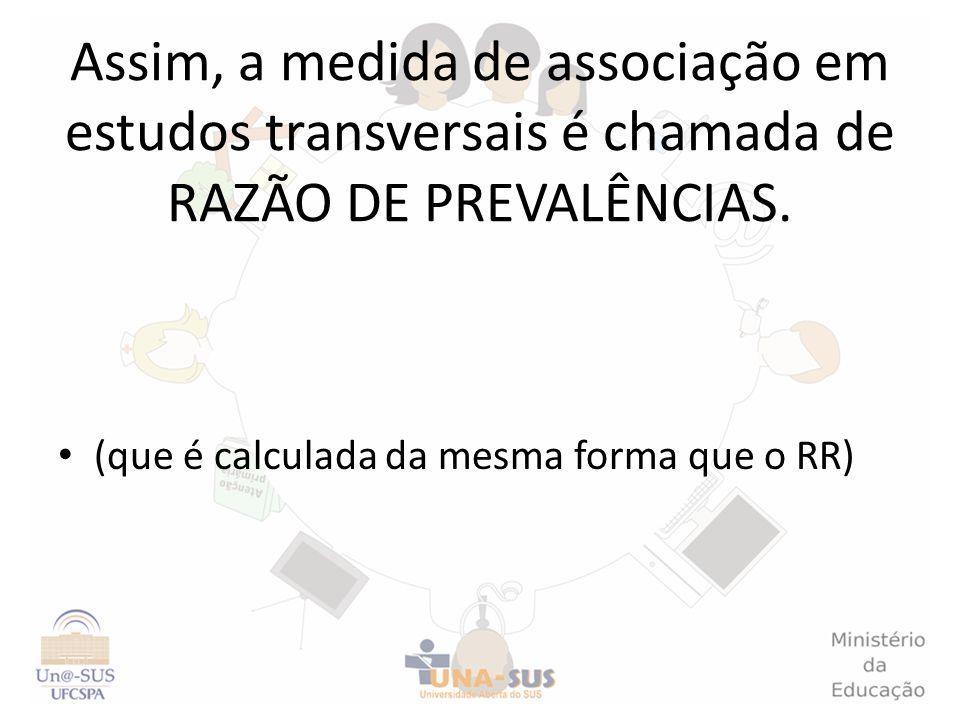 Assim, a medida de associação em estudos transversais é chamada de RAZÃO DE PREVALÊNCIAS. (que é calculada da mesma forma que o RR)