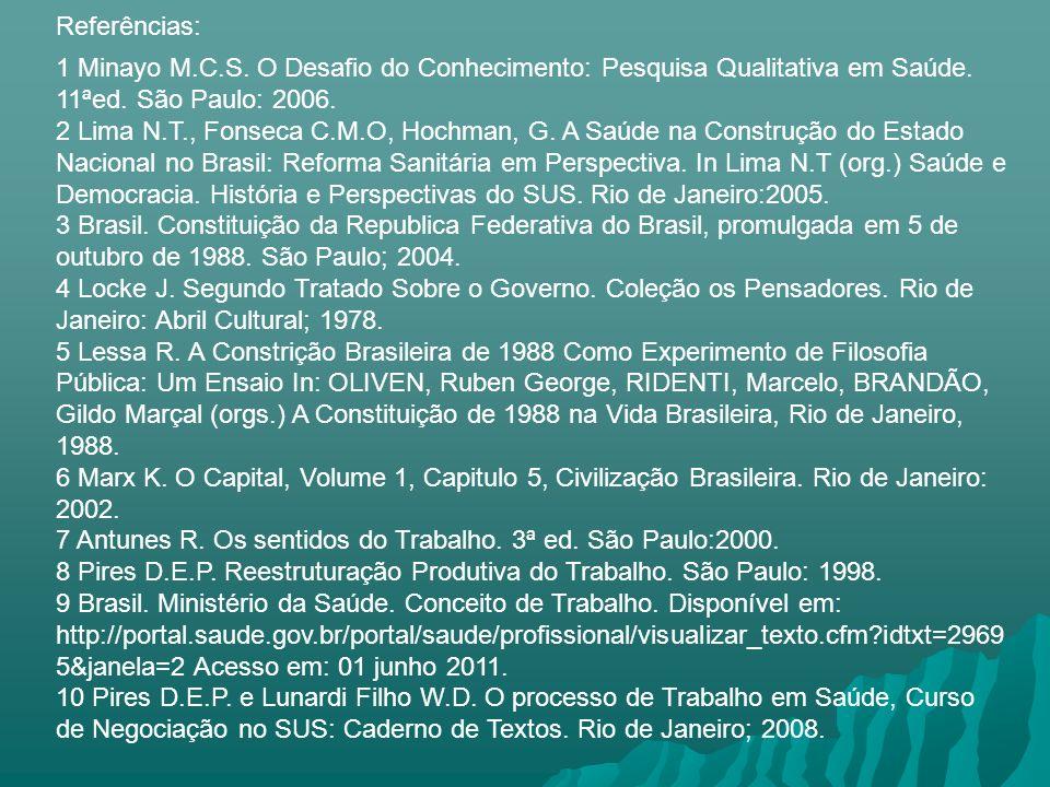 1 Minayo M.C.S. O Desafio do Conhecimento: Pesquisa Qualitativa em Saúde. 11ªed. São Paulo: 2006. 2 Lima N.T., Fonseca C.M.O, Hochman, G. A Saúde na C